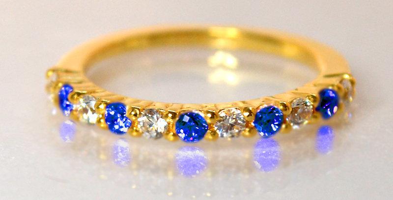 9月誕生石サファイア&ダイヤモンド ハーフエタニティリング K18YG(18金イエローゴールド)