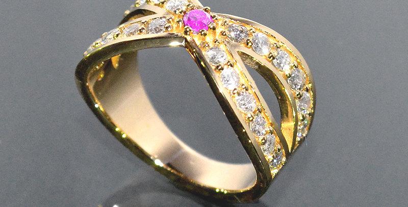 【10月誕生石】 ピンクトルマリン&ダイヤモンド  インターセクトリング  K18YG(18金イエローゴールド)