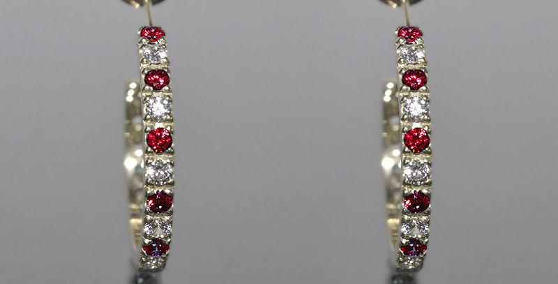 7月誕生石ルビー&ダイヤモンド エタニティフープピアス K18WG(18金ホワイトゴールド)