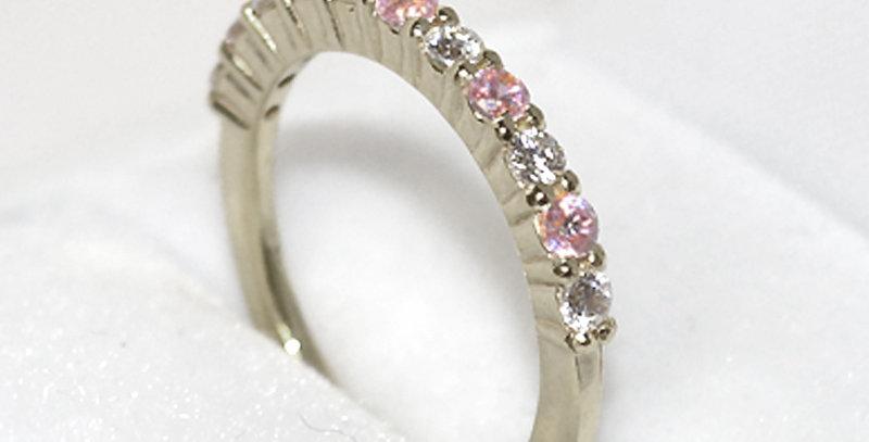 10月誕生石ピンクトルマリン&ダイヤモンド ハーフエタニティリング K18WG(18金ホワイトゴールド)