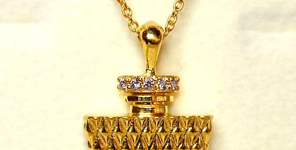 【4月誕生石ダイヤモンド】パフュームペンダントネックレス K18YG(18金イエローゴールド)