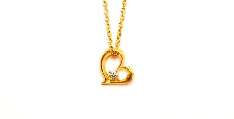 【4月誕生石ダイヤモンド】スイートハート ペンダントネックレス K18YG(18金イエローゴールド)