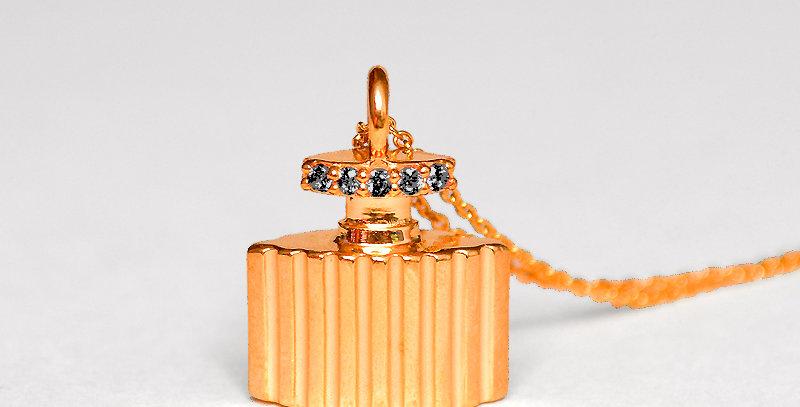 香水ネックレス スターリングシルバー(SV925) ピンクコーティング キュービックジルコニア(ブラック)