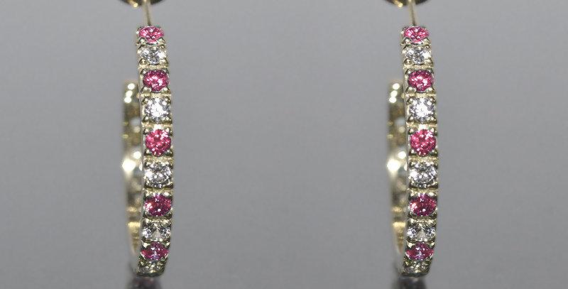 10月誕生石ピンクトルマリン&ダイヤモンド エタニティフープピアス K18WG(18金ホワイトゴールド)