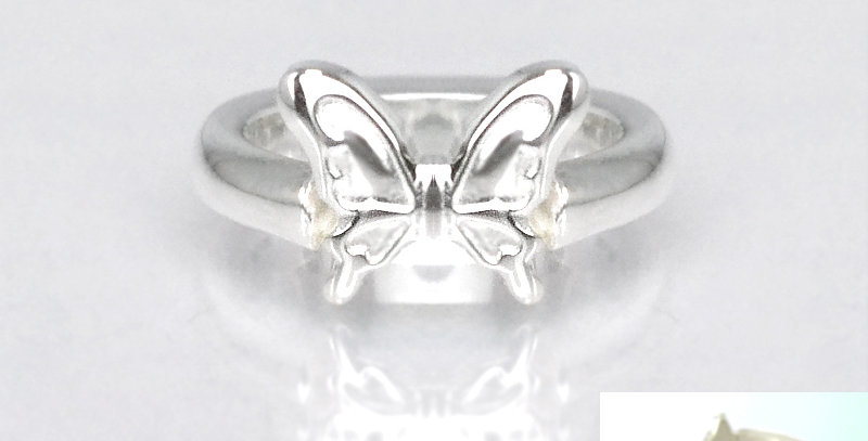 蝶々のベビーリング 7月誕生石ルビー SV925(シルバー)