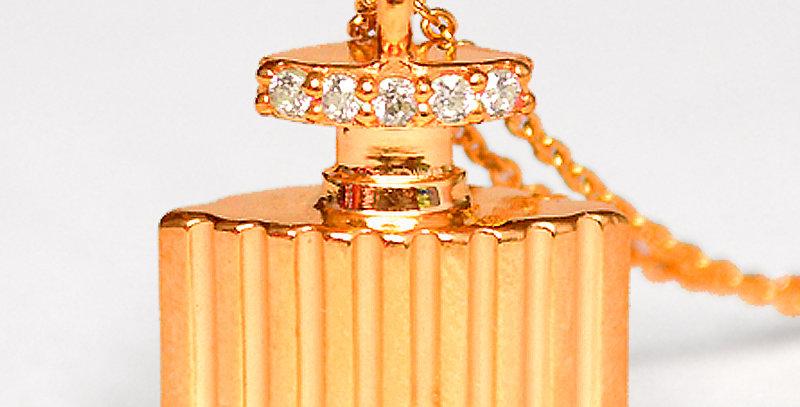 香水ネックレス スターリングシルバー(SV925) ピンクコーティング キュービックジルコニア(ホワイト)