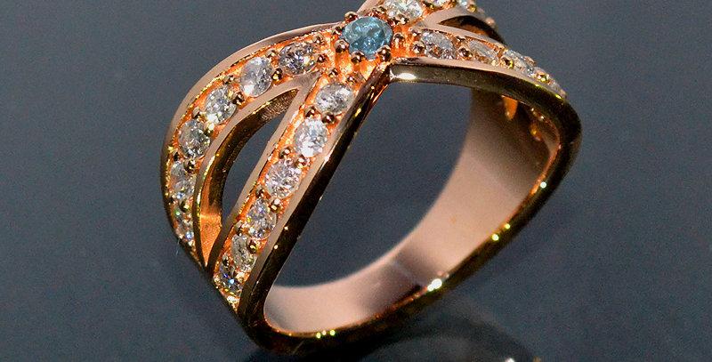 【3月誕生石】 アクアマリン&ダイヤモンド  インターセクトリング  K18PG(18金ピンクゴールド)