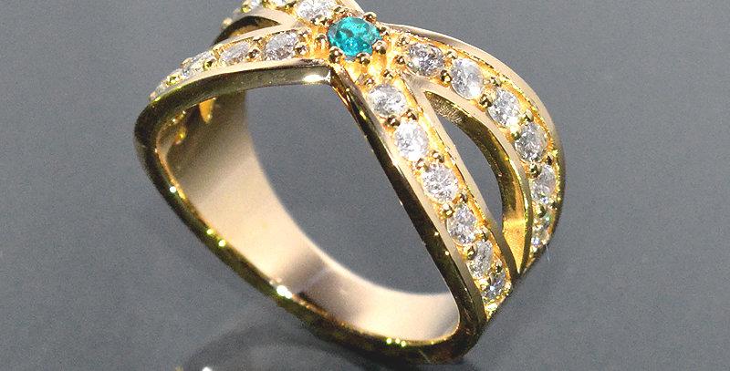 【11月誕生石】 ブルートパーズ&ダイヤモンド  インターセクトリング  K18YG(18金イエローゴールド)