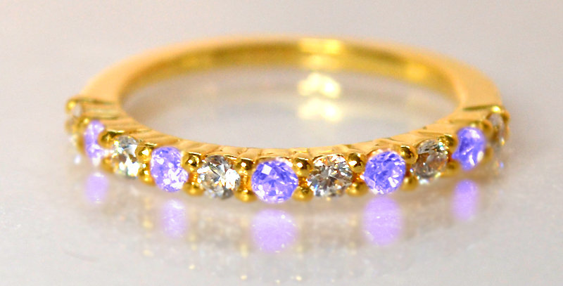 12月誕生石タンザナイト&ダイヤモンド ハーフエタニティリング K18YG(18金イエローゴールド)
