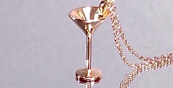 カクテルグラス ペンダントネックレス 鏡面仕上げ シルバー925 ピンクゴールドプレーテッド