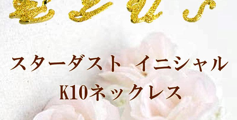 イニシャルペンダントネックレス 10金イエローゴールド K10YG スターダスト