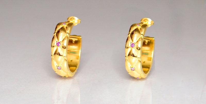10月誕生石ピンクトルマリン ダイヤキルトフープピアス スターリングシルバー(SV925) ゴールドコーティング