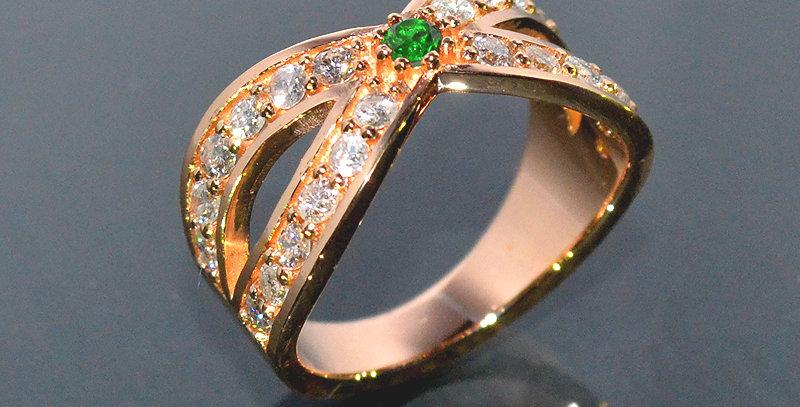 【5月誕生石】 エメラルド&ダイヤモンド  インターセクトリング  K18PG(18金ピンクゴールド)