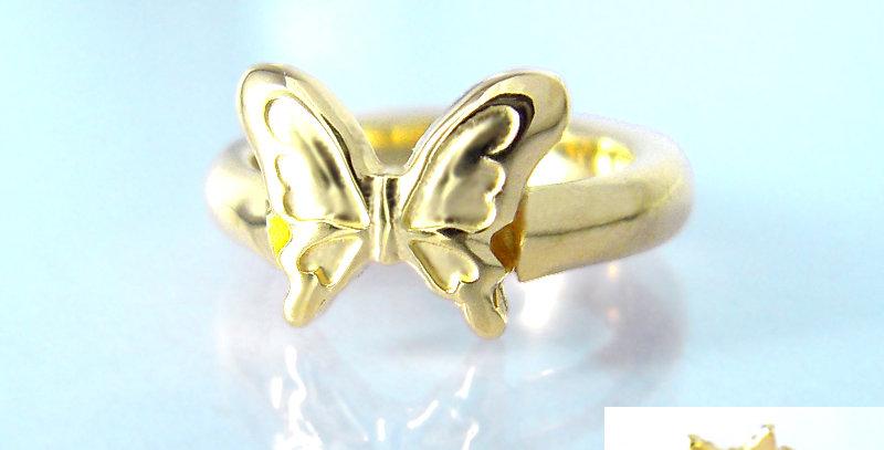 大きな蝶々のベビーリング 10月誕生石ピンクトルマリン K10YG(10金イエローゴールド)