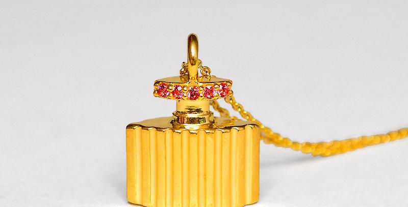 香水ボトル ペンダントネックレス スターリングシルバー(SV925) ゴールドコーティング キュービックジルコニア(レッド)