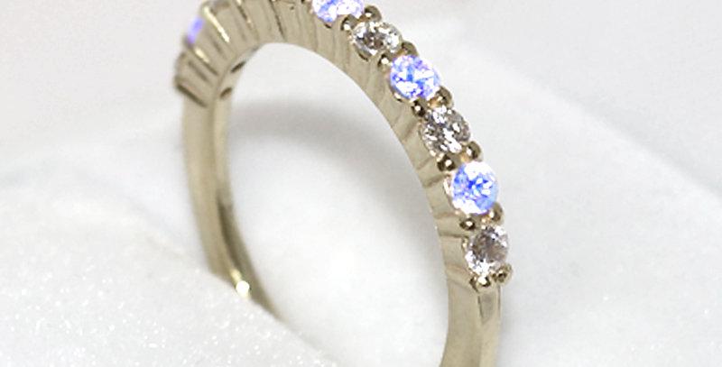 6月誕生石ブルームーンストーン&ダイヤモンド ハーフエタニティリング K18WG(18金ホワイトゴールド)