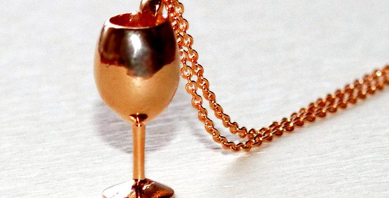ワイングラス ペンダントネックレス  鏡面仕上げ  K10PG(10金ピンクゴールド)