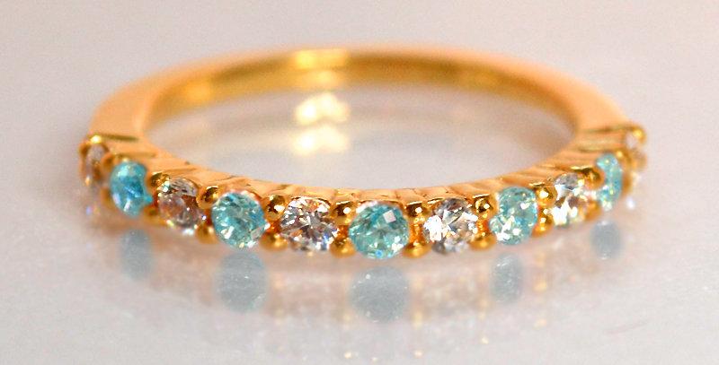 11月誕生石ブルートパーズ&ダイヤモンド ハーフエタニティリング K18PG(18金ピンクゴールド)