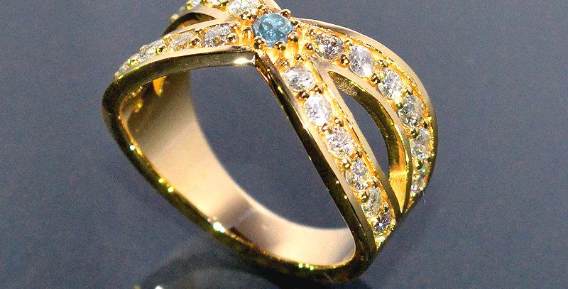 【3月誕生石】 アクアマリン&ダイヤモンド  インターセクトリング  K18YG(18金イエローゴールド)