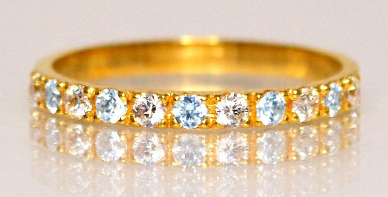 3月誕生石アクアマリン&ダイヤモンド ハーフエタニティリング K18YG(18金イエローゴールド)