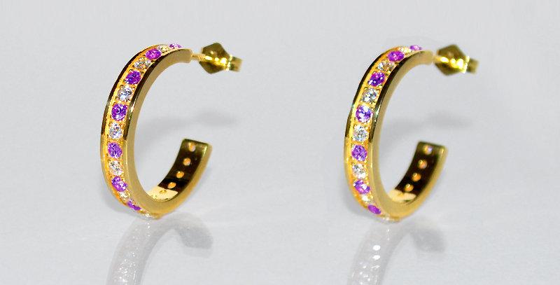 2月誕生石アメジスト&ダイヤモンド エタニティフープピアス K18YG(18金イエローゴールド)