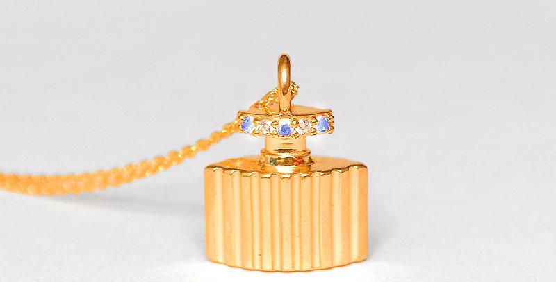 【6月誕生石ブルームーンストーン&ダイヤモンド】 香水ボトル ペンダントネックレス K18PG(18金ピンクゴールド)