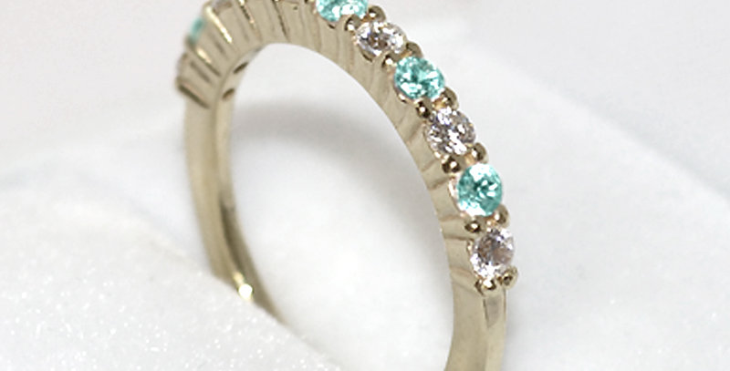 11月誕生石ブルートパーズ&ダイヤモンド ハーフエタニティリング K18WG(18金ホワイトゴールド)
