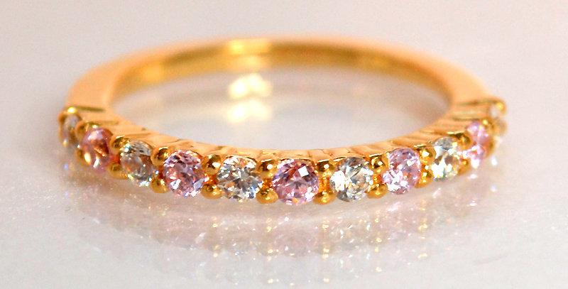 10月誕生石ピンクトルマリン&ダイヤモンド ハーフエタニティリング K18PG(18金ピンクゴールド)