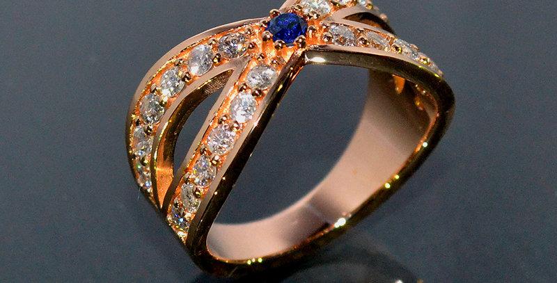 【9月誕生石】 サファイア&ダイヤモンド  インターセクトリング  K18PG(18金ピンクゴールド)