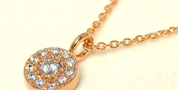 【4月誕生石ダイヤモンド】 ストーンサークルペンダントネックレス K18PG(18金ピンクゴールド)