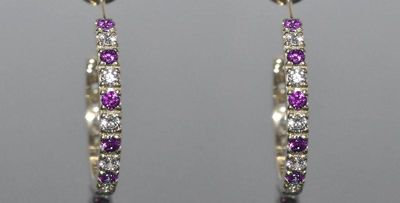 2月誕生石アメジスト&ダイヤモンド エタニティフープピアス K18WG(18金ホワイトゴールド)