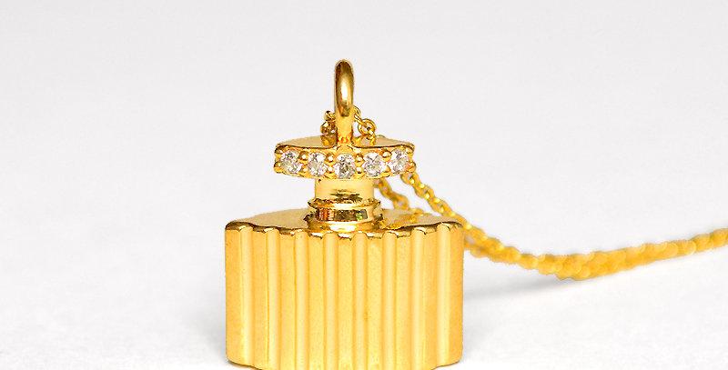 香水ネックレス スターリングシルバー(SV925) ゴールドコーティング キュービックジルコニア(ホワイト)