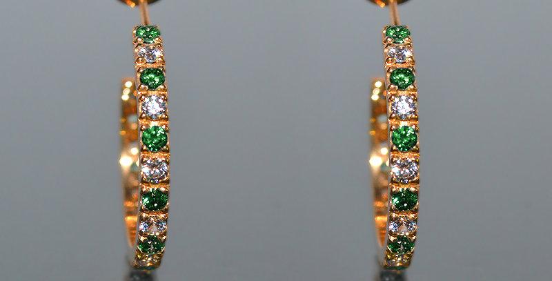 5月誕生石エメラルド&ダイヤモンド エタニティフープピアス K18PG(18金ピンクゴールド)