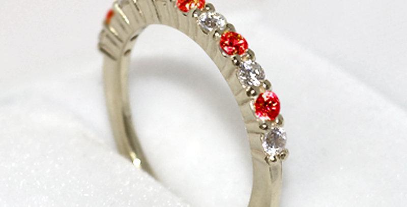 1月誕生石ガーネット&ダイヤモンド ハーフエタニティリング K18WG(18金ホワイトゴールド)