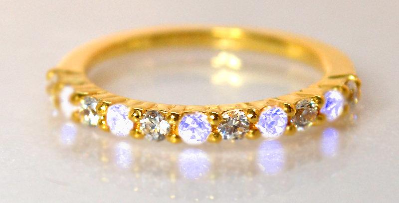 6月誕生石ブルームーンストーン&ダイヤモンド ハーフエタニティリング K18YG(18金イエローゴールド)