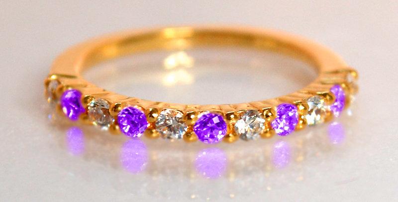 2月誕生石アメジスト&ダイヤモンド ハーフエタニティリング K18PG(18金ピンクゴールド)