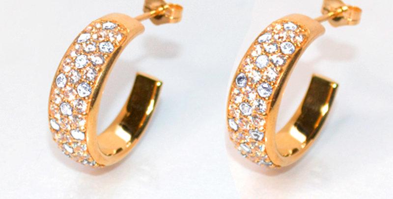 ダイヤモンドパヴェフープピアス K18PG(18金ピンクゴールド)