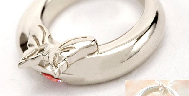 蝶々のベビーリング<ペンダントタイプ> 4月誕生石ダイヤモンド SV925(シルバー)