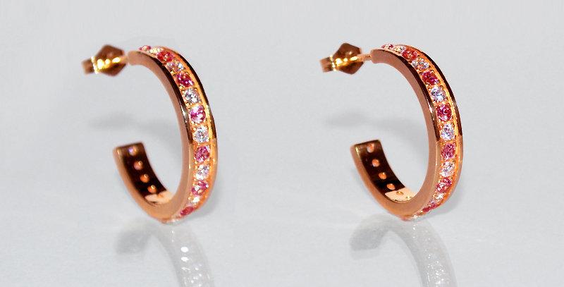 1月誕生石ガーネット&ダイヤモンド エタニティフープピアス K18PG(18金ピンクゴールド)