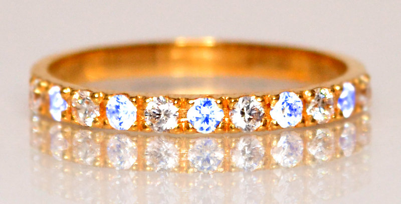 6月誕生石ブルームーンストーン&ダイヤモンド ハーフエタニティリング K18PG(18金ピンクゴールド)