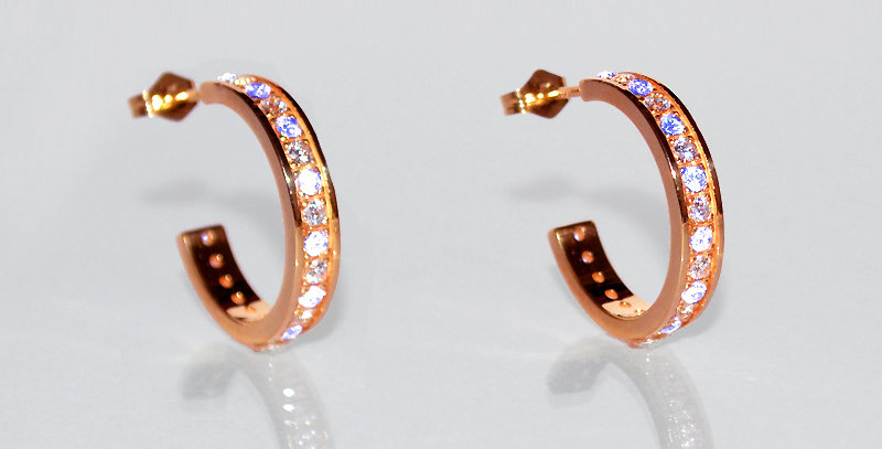 6月誕生石ブルームーンストーン&ダイヤモンド エタニティフープピアス K18PG(18金ピンクゴールド)
