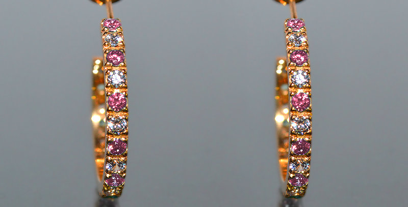 10月誕生石ピンクトルマリン&ダイヤモンド エタニティフープピアス K18PG(18金ピンクゴールド)