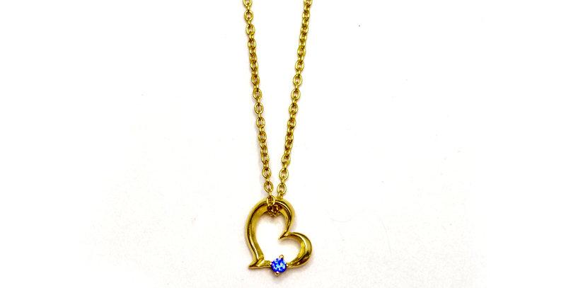 【9月誕生石サファイア】スイートハート ペンダントネックレス K10YG(10金イエローゴールド)
