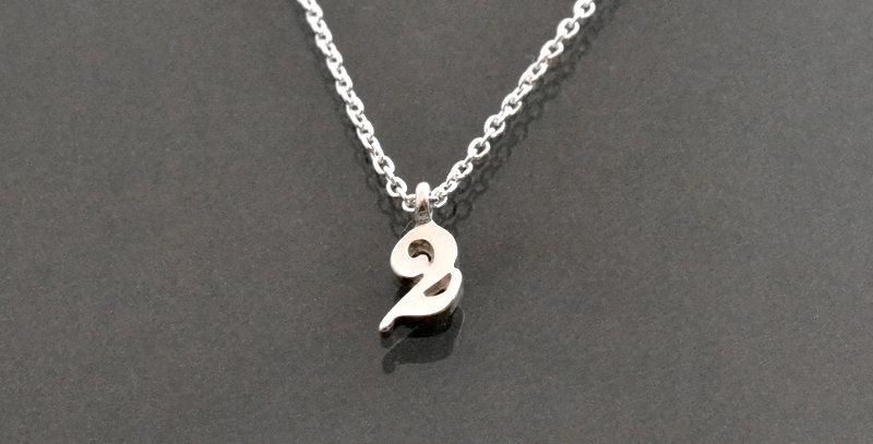 数字ナンバー『2』ペンダントネックレス スターリングシルバー(SV925)