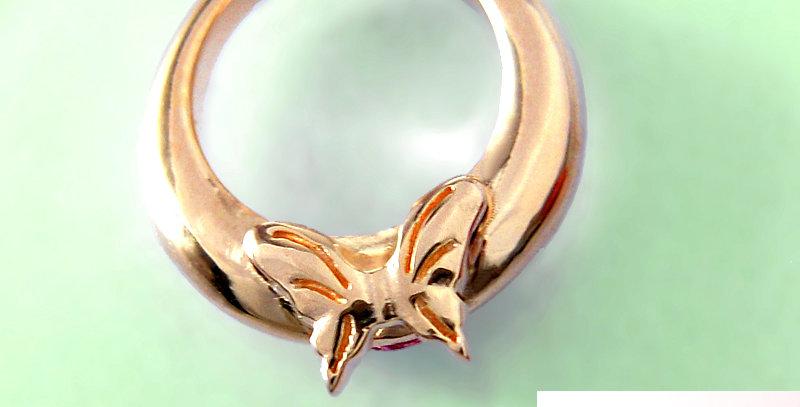 蝶々のベビーリング<ペンダントタイプ> 4月誕生石ダイヤモンド K10PG(10金ピンクゴールド)