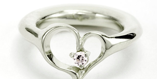 オープンハートのベビーリング 4月誕生石ダイヤモンド pt900(プラチナ)