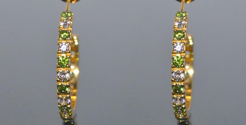 8月誕生石ペリドット&ダイヤモンド エタニティフープピアス K18YG(18金イエローゴールド)