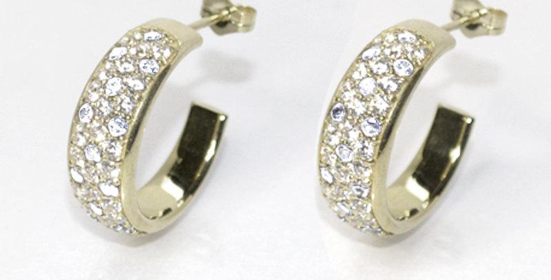 【4月誕生石ダイヤモンド】パヴェフープピアス K18WG(18金ホワイトゴールド)