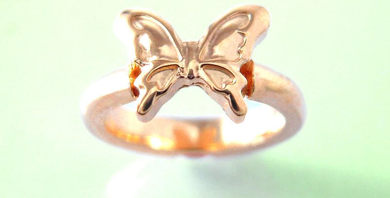 大きな蝶々のベビーリング 選べる誕生石 K10PG(10金ピンクゴールド)