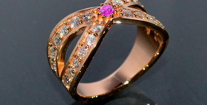 【10月誕生石】 ピンクトルマリン&ダイヤモンド  インターセクトリング  K18PG(18金ピンクゴールド)